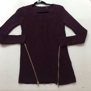 Guess Plum Cotton Sweater w/ Accent Gold Zippers